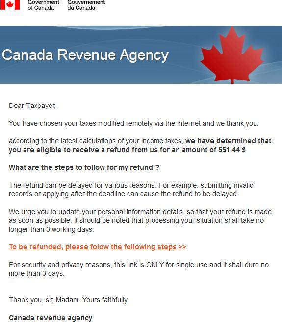 canada revenue agency refund tax scam 2016 full