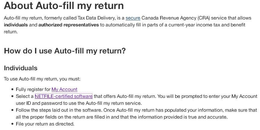 auto tax fill canada revenue