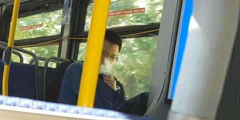 smoking vaping on a bus
