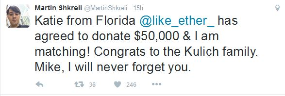 martin shkreli 50,000 dollars punch bid