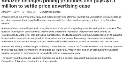 amazon canada misleading price fine