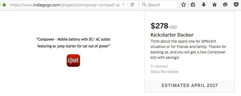 kickstarter indiegogo compower
