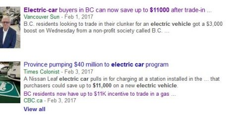canada electric car rebate $11,000