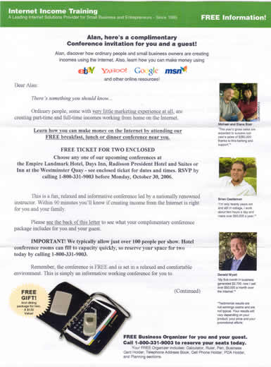 Internet Marketing Conference Letter Front