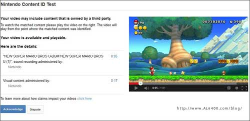 Nintendo Content ID Match Youtube