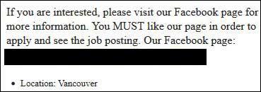 Scam job posting